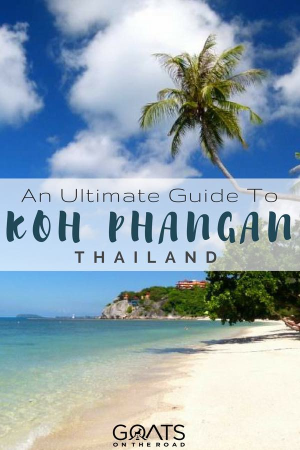 Thailand beach and palm tree with text overlay An Ultimate Guide To Koh Phangan
