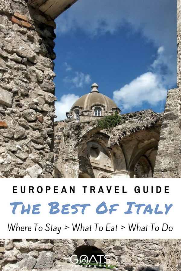 Ischia architecture with text overlay European Travel Guide The Best of Italy