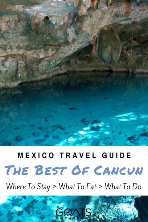 Cenote with text overlay Mexico Travel Guide The Best of Cancun