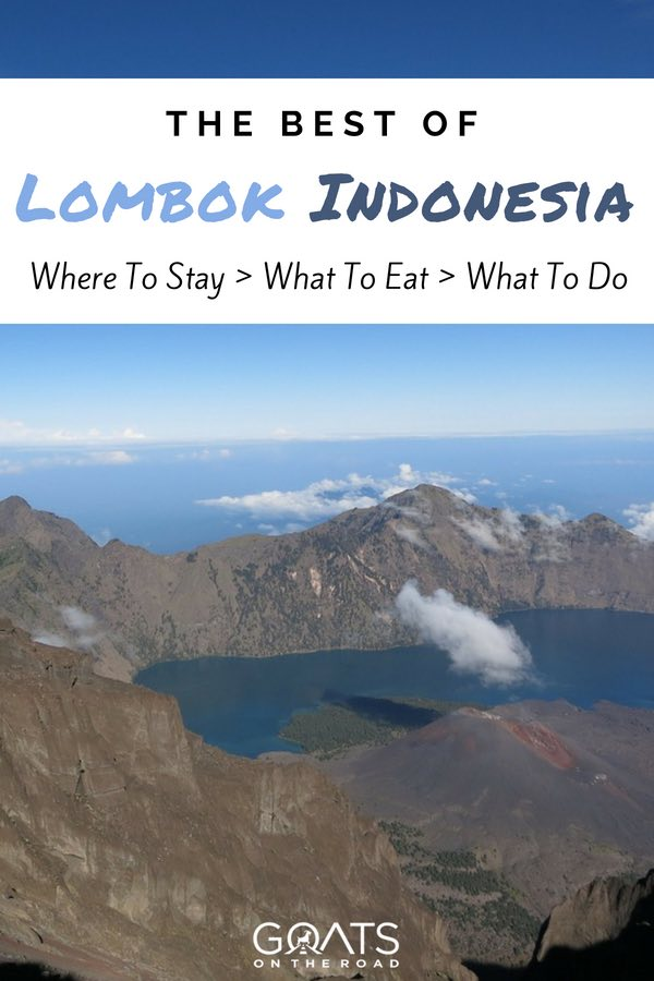 Mount Rinjani with text overlay The Best of Lombok Indonesia