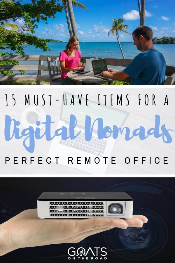 digital nomad remote office with text overlay