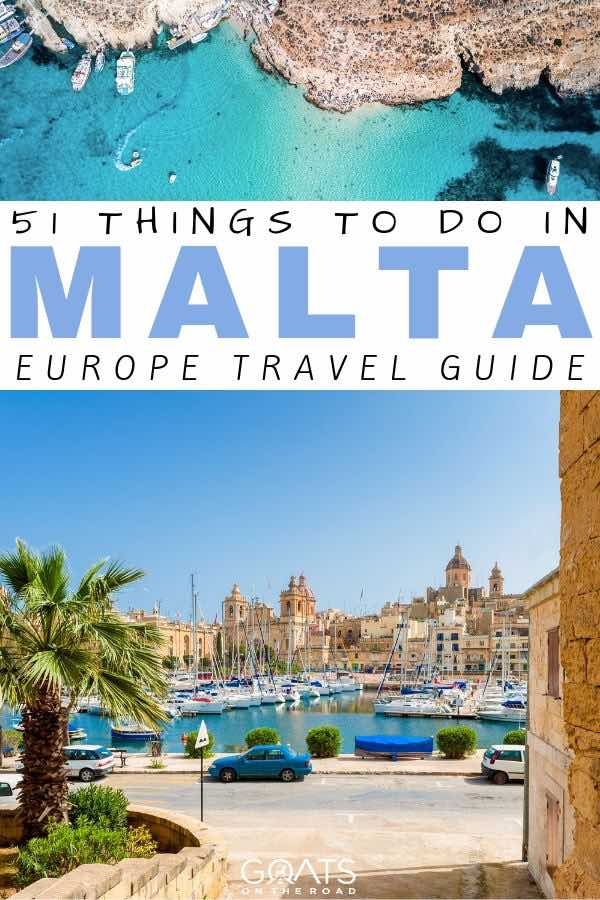 Malta with text overlay 51 things to do in Malta