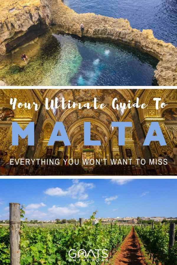 Popular places in Malta with text overlay Your Ultimate Guide To Malta