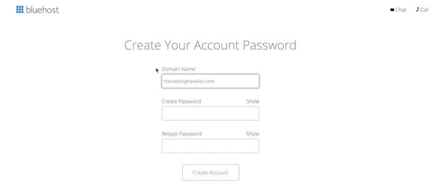 Start a Blog create password WordPress