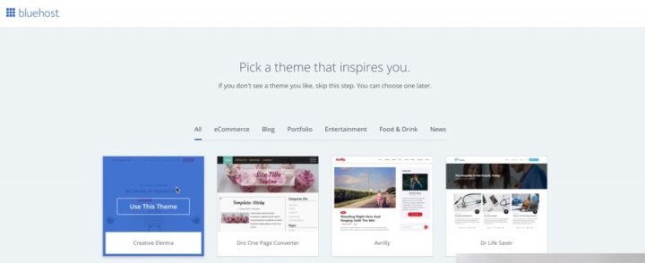 Start a blog and select a theme