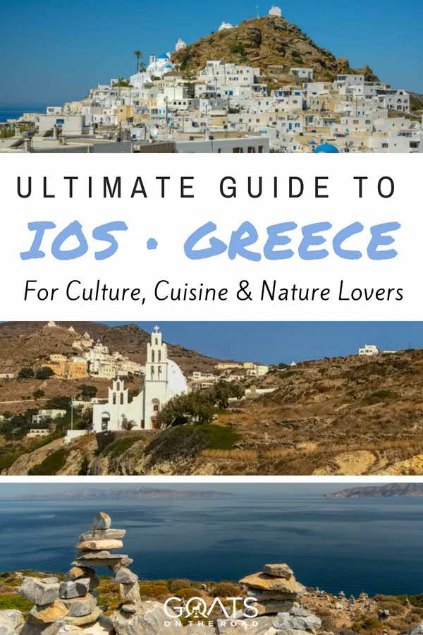 Greece island with text overlay Ultimate Guide To Ios Greece