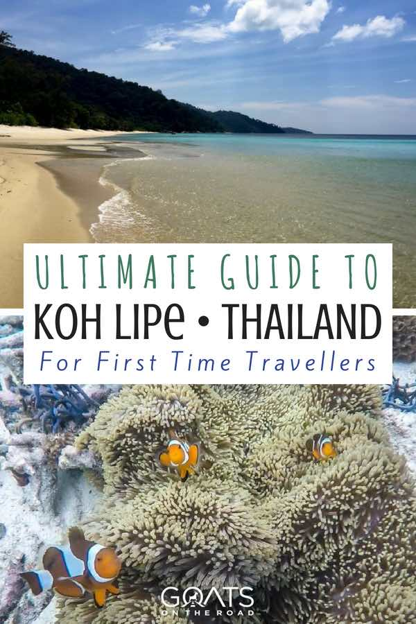 Beach and underwater coral and fish with text overlay Ultimate Guide To Koh Lipe For First Time Travellers