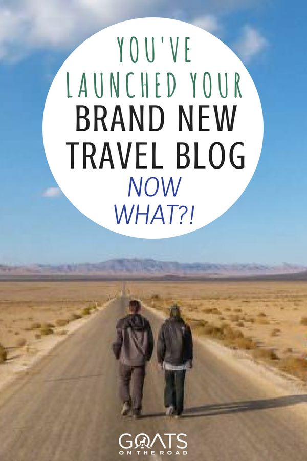 Goats on the road with text overlay You've Launched Your Brand New Travel Blog Now What?!