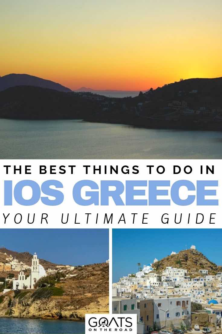 greece sunset with text overlay the best things to do in ios greece