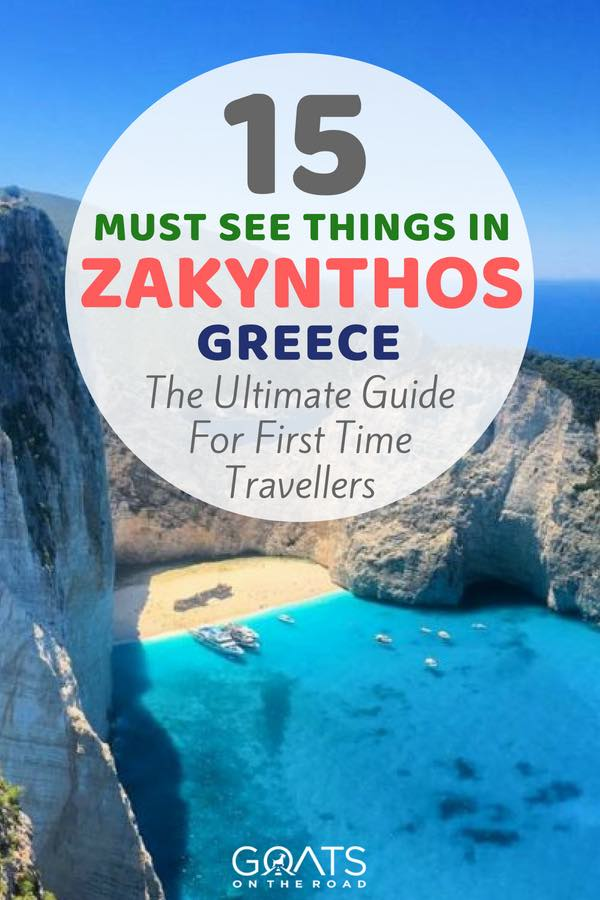 Shipwreck beach with text overlay 15 Must See Things In Zakynthos Greece