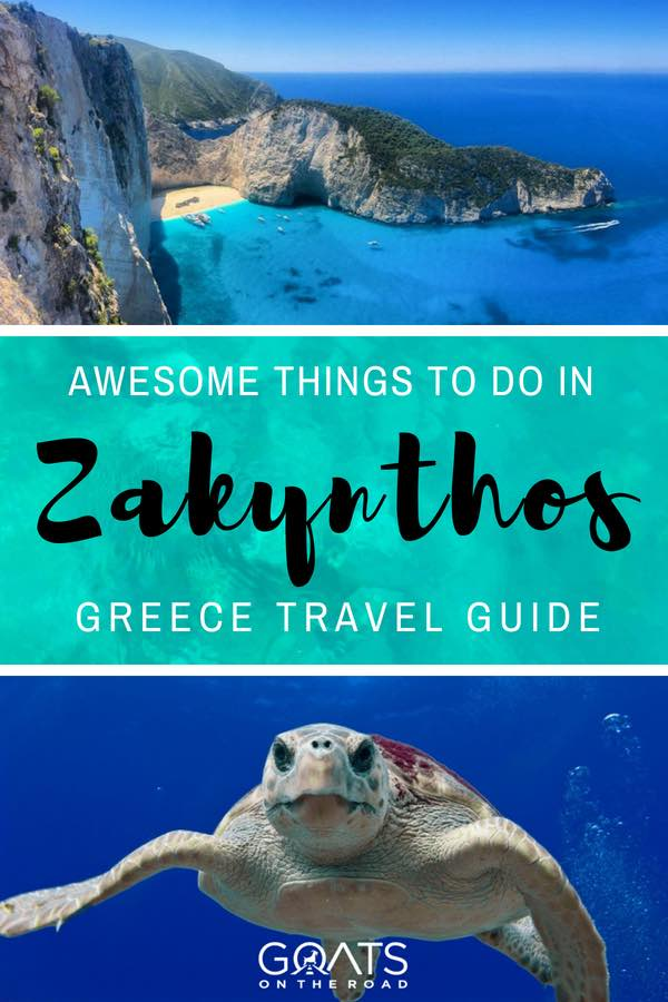 Clear blue water and turtle with text overlay Awesome Things To Do In Zakynthos Greece Travel Guide