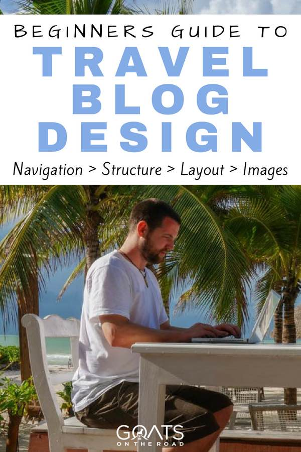 Working on laptop in front of palm trees with text overlay Beginners Guide To Travel Blog Design
