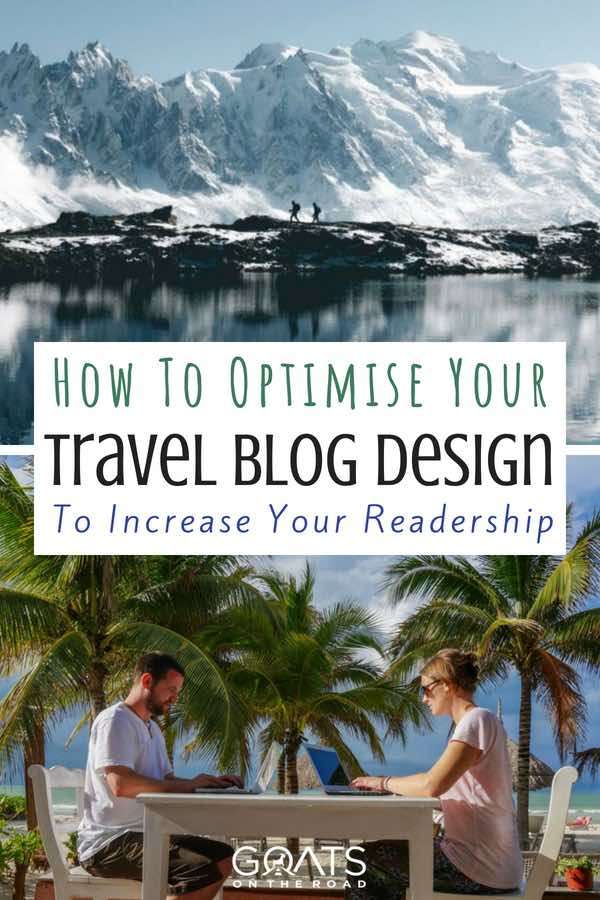 Travel bloggers with text overlay How To Optimise Your Travel Blog Design