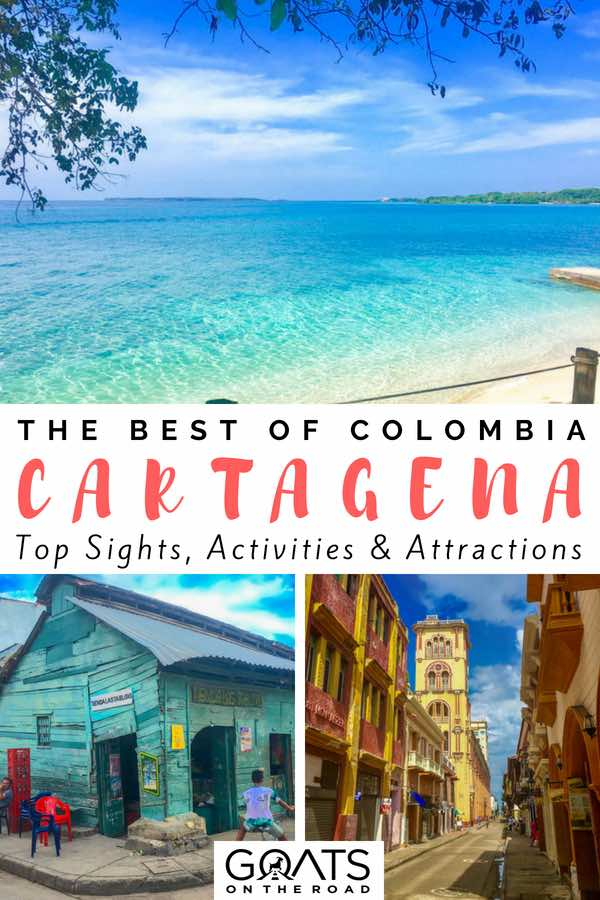 Beautiful beach with text overlay The Best of Colombia Cartagena