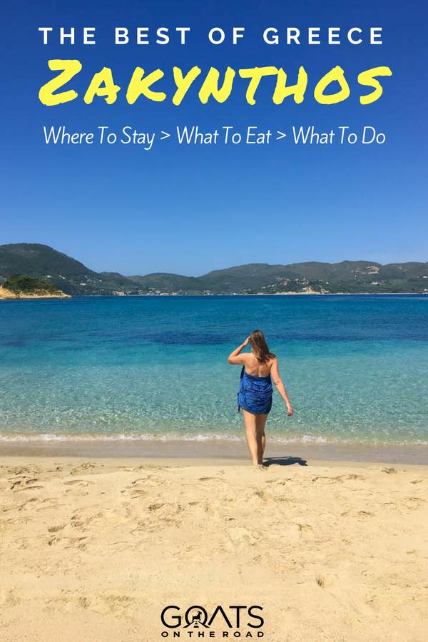 Beautiful beach with text overlay The Best of Greece Zakynthos