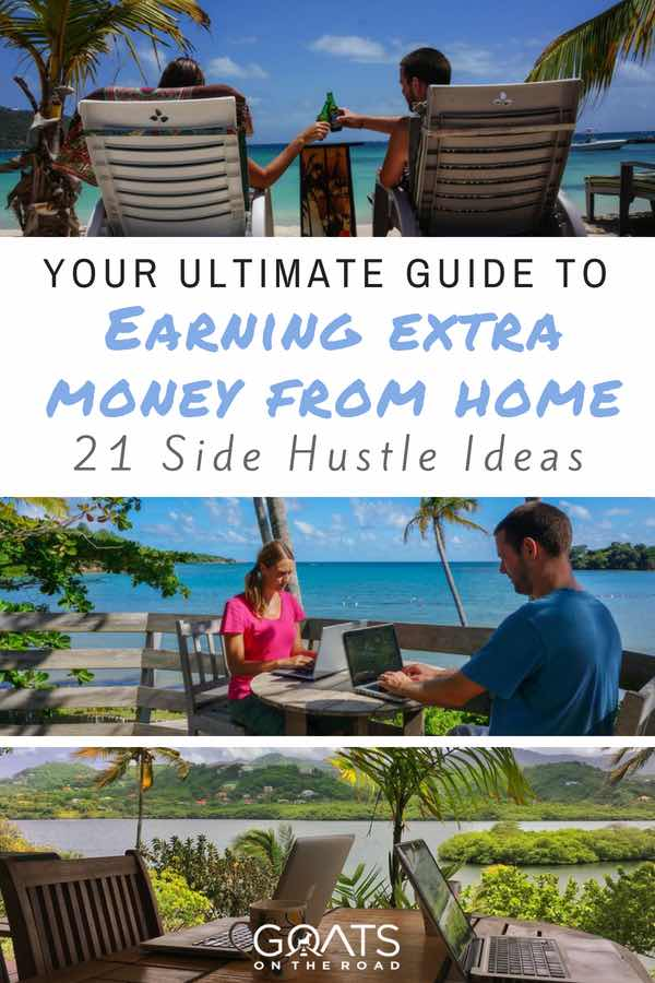 Digital nomads with text overlay Your Ultimate Guide To Making Extra Money From Home
