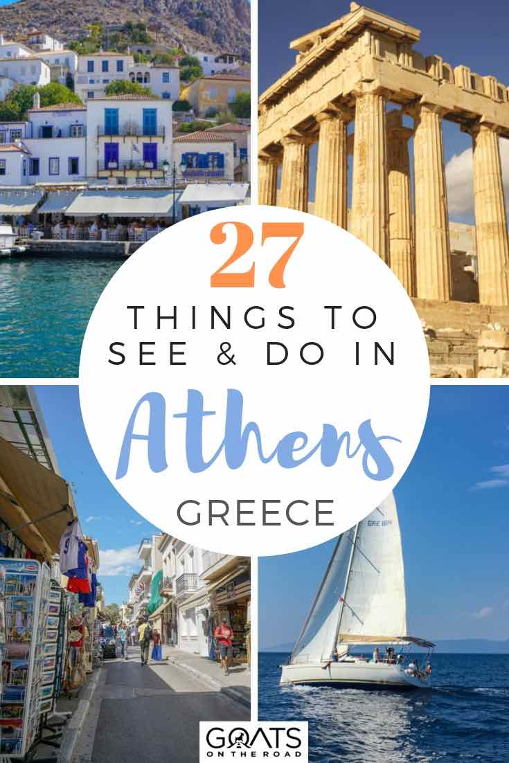 top sights in athens with text overlay 27 things to see and do in athens