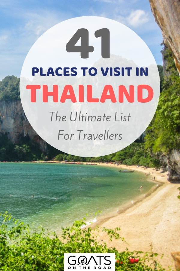 Beautiful Thai beach with text overlay 41 Places To Visit In Thailand