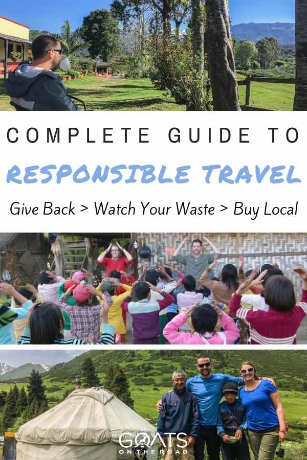 Backpackers with text overlay Complete Guide To Responsible Travel