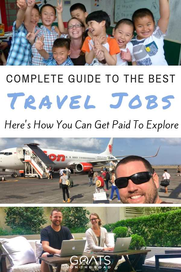 Travel bloggers with text overlay Complete Guide To The Best Travel Jobs