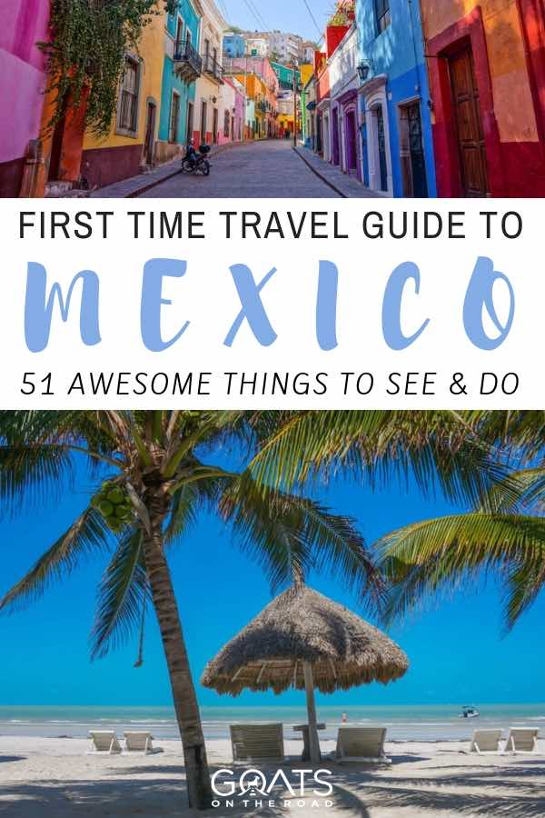 mexico beach with palm trees and colourful street with text overlay first time travel guide to mexico