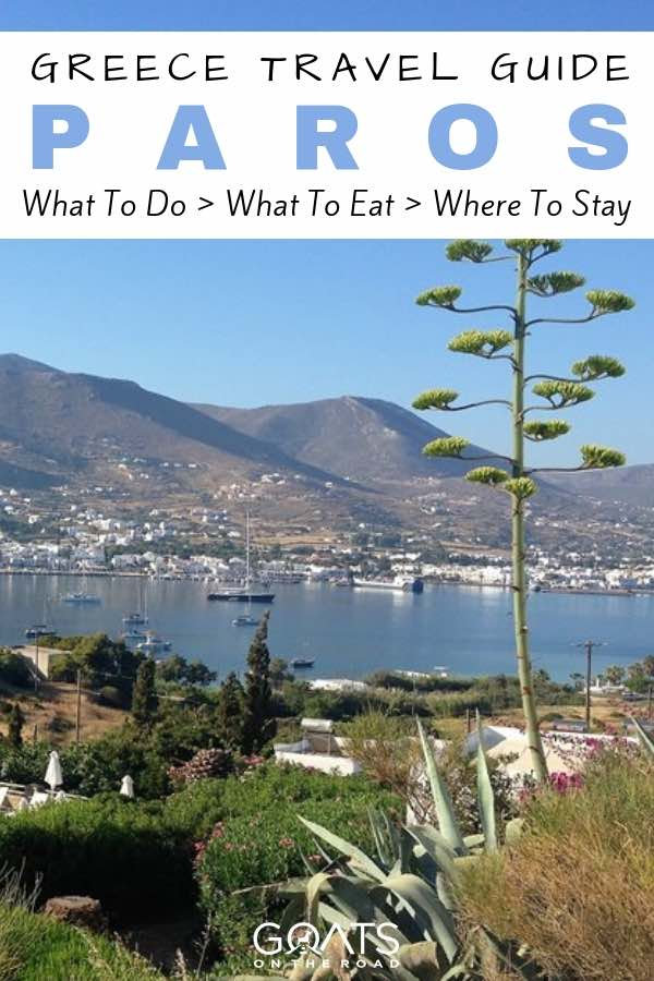 Greek island scenery with text overlay Greece Travel Guide Paros