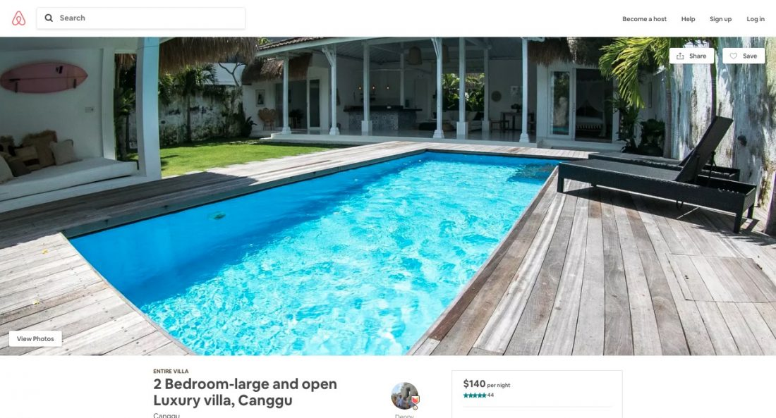 airbnb coupon code for villa in canggu bali