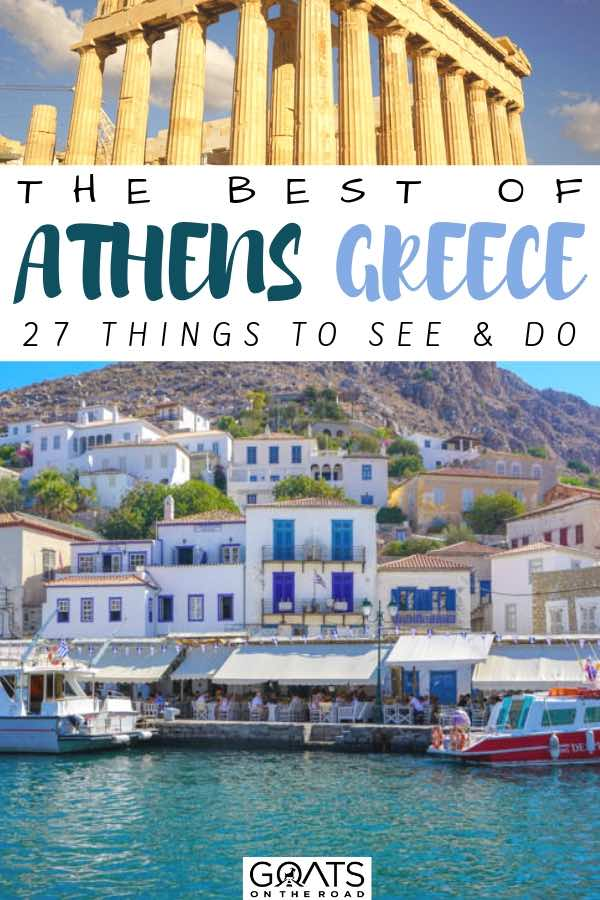 coastal town with text overlay the best of athens greece
