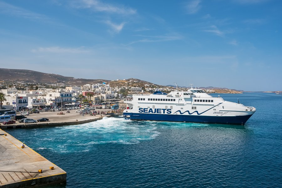 ferry boat in paros greece