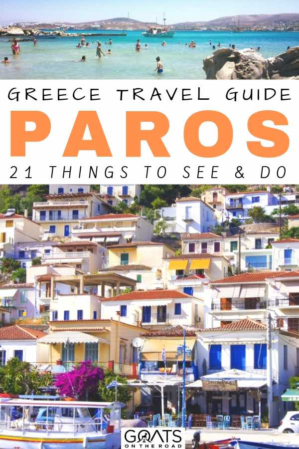 houses on the hill in paros with text overlay Greece travel guide to Paros