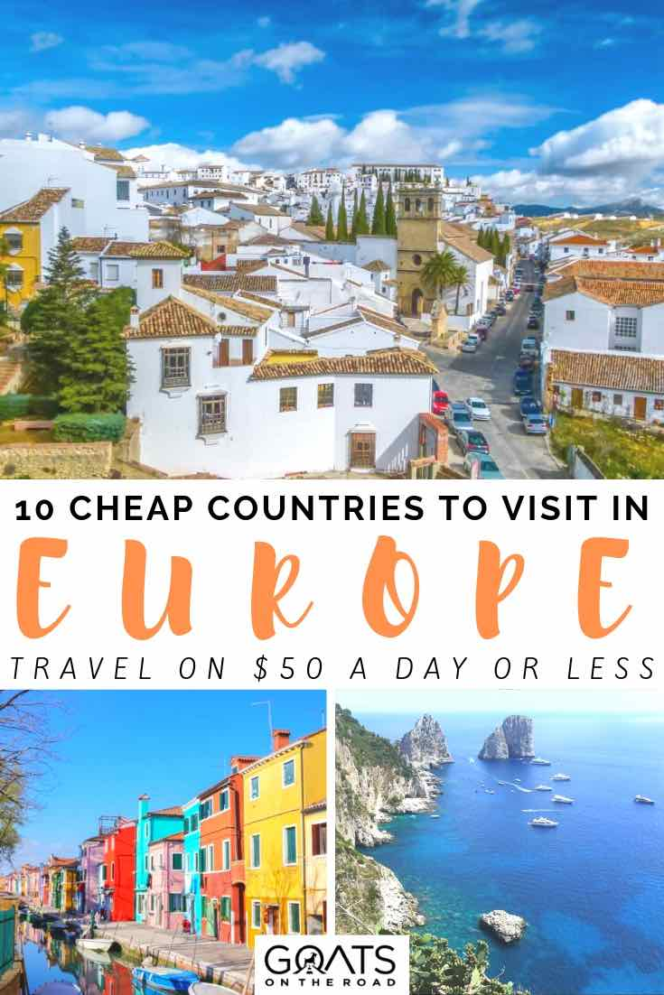 european countries with text overlay 10 cheap countries to visit in europe
