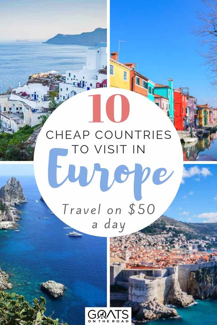 various european cities with text overlay 10 cheap countries to visit in europe
