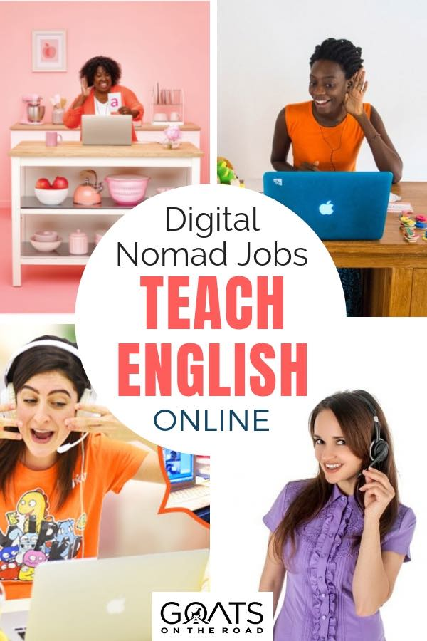 English teachers with text overlay Digital Nomad Jobs Teach English Online