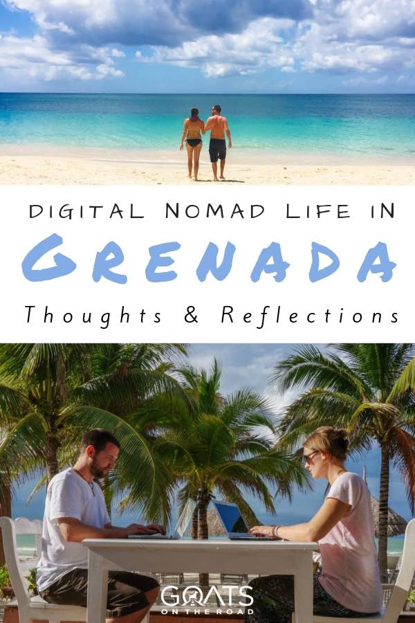 digital nomads working on laptops in grenada with text overlay