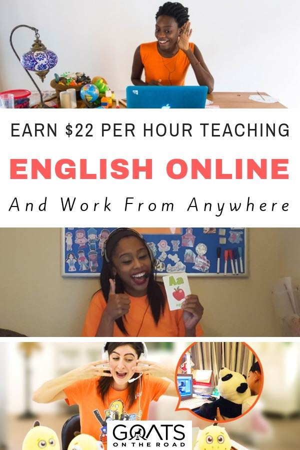 Digital nomads working online with text overlay Earn $22 Per Hour Teaching English Online & Work From Anywhere