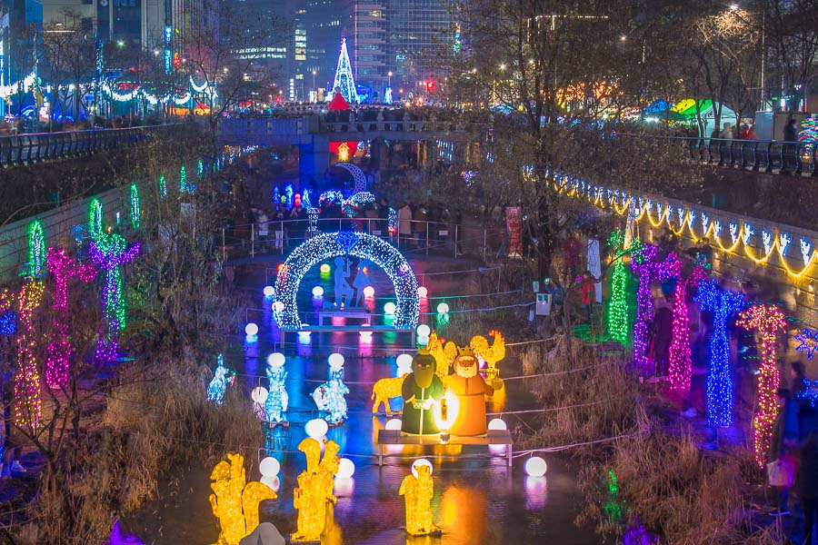 Cheonggyecheon Stream in Seoul during Christmas is one of the best places to visit in seoul