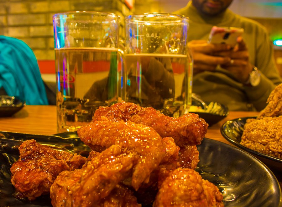 Fried Chicken and Beer in South Korea, chicken in the kitchen is one of the tastiest places to visit in seoul