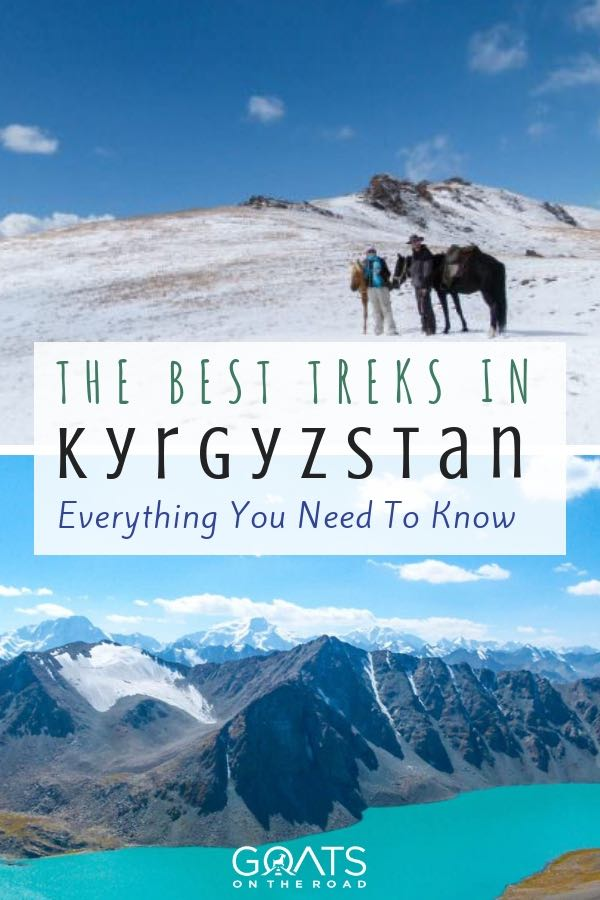 trekking in Kyrgyzstan with text overlay