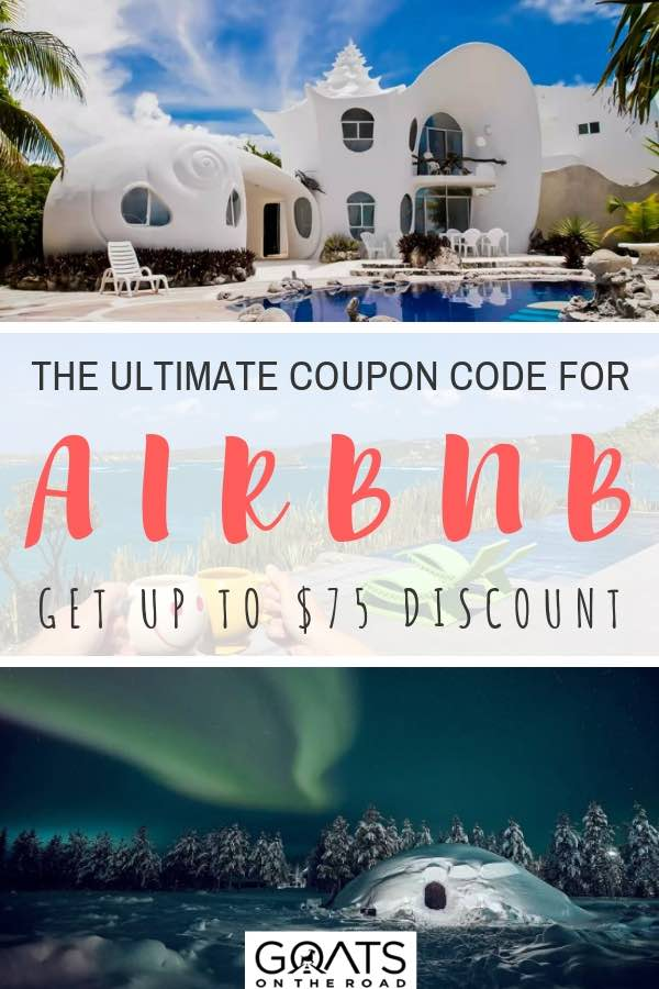 seashell airbnb and igloo airbnb with text overlay and 75$ discount code