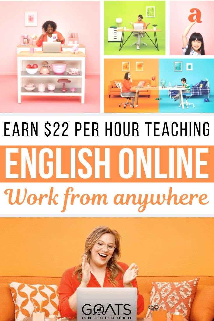 online teacher with text overlay earn 22 per hour teaching English online