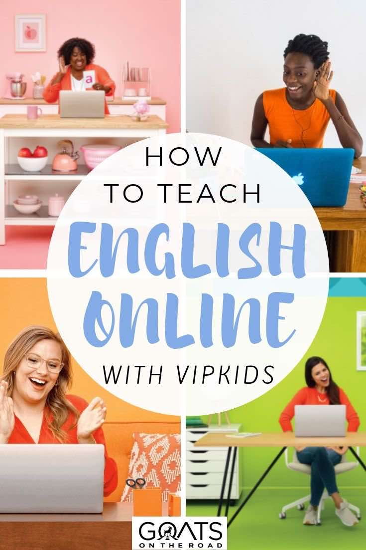 on line teachers with text overlay how to teach English online