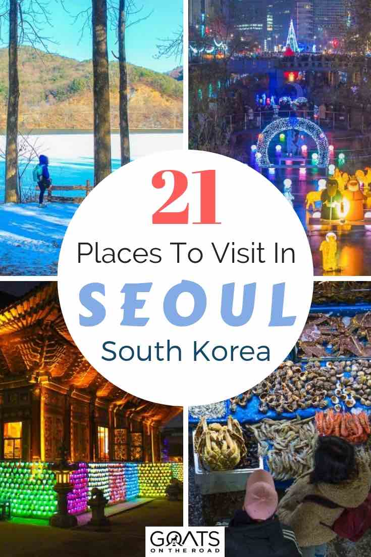 various seoul sites in south korea with text overlay