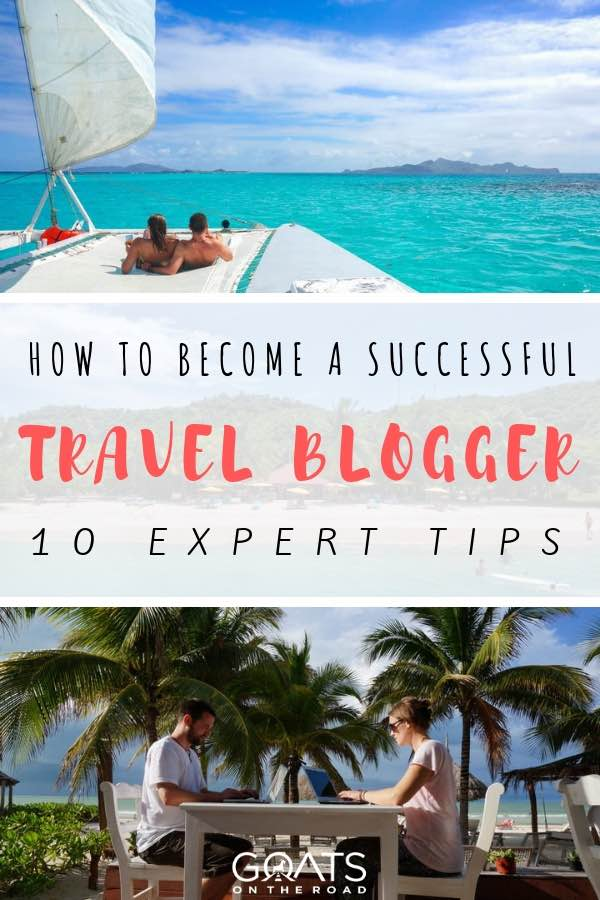 sailing in the caribbean and travel blogging with text overlay