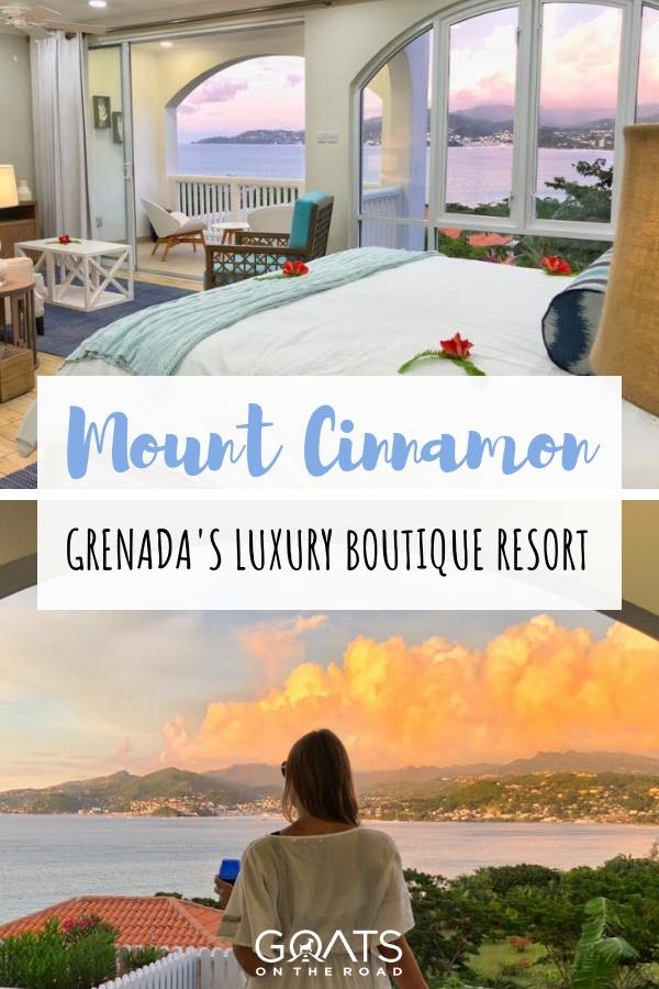 Sunset at Mount Cinnamon Boutique Resort In Grenada with Text Overlay