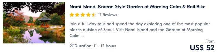 best places to visit in seoul nami island