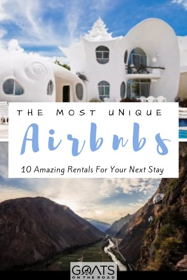 seashell Airbnb in Mexico and sky domes in South America with text overlay