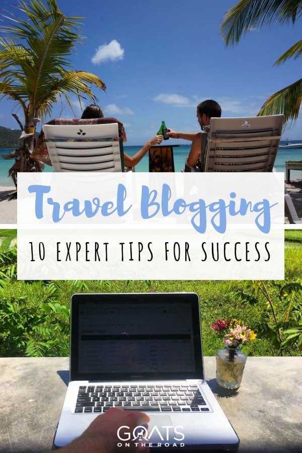Working online in tropical destination travel blogging with text overlay