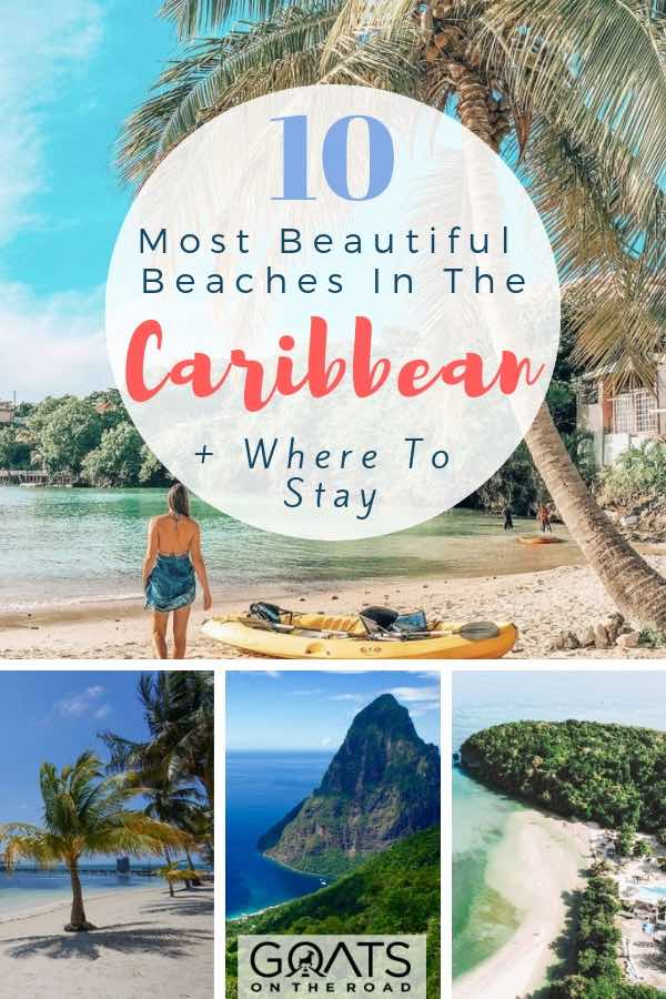 Various beaches in the Caribbean with text overlay