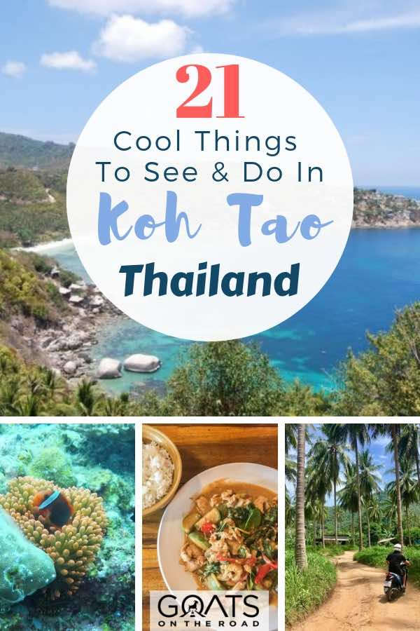 viewpoint of beach, diving and food in Koh Tao Thailand with text overlay