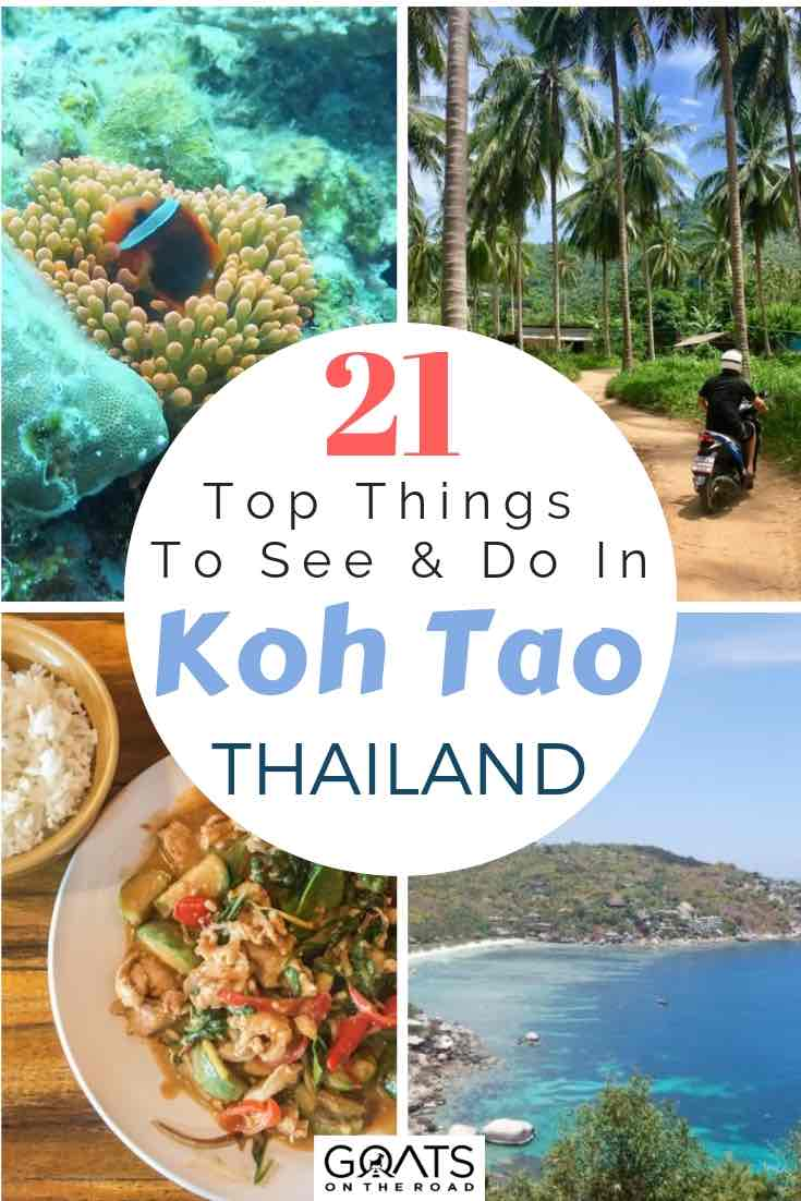 Food, beaches and diving in Koh Tao Thailand with text overlay